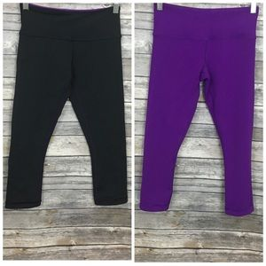 Lululemon Black/Purple Crop Reversible Leggings
